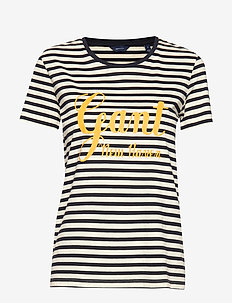 D1. STRIPE GRAPHIC SS T-SHIRT - EVENING BLUE
