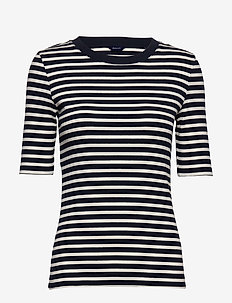 D1. STRIPED RIB SS TOP - t-shirts - evening blue
