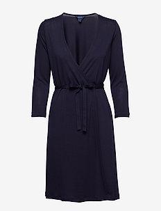 O1. SOLID WRAP DRESS - EVENING BLUE