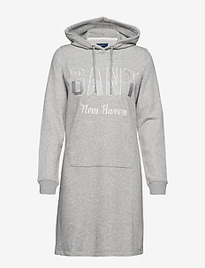 D1. GANT N.H HOODIE DRESS - LIGHT GREY MELANGE