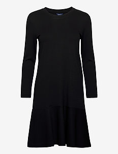 D1. FLOUNCE DETAIL DRESS LS - midiklänningar - black