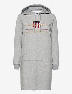 D1. ARCHIVE SHIELD HOODIE DRESS - korte kjoler - grey melange