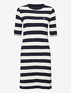 D1. BAR STRIPED JERSEY DRESS - tshirt jurken - evening blue