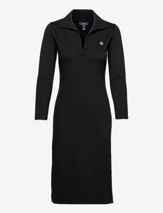 D2. POLO LS JERSEY DRESS - sukienki koszulowe - black