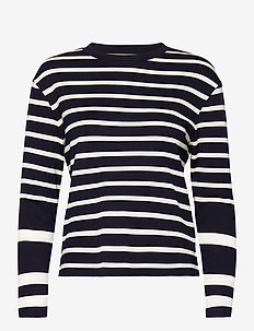 D1. DETAIL BRETON STRIPE LS TOP - langermede topper - evening blue