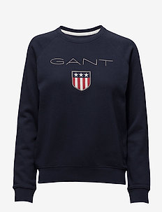 GANT SHIELD LOGO C-NECK SWEAT - sweatshirts - evening blue