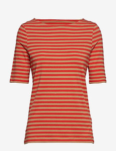 D1. BOATNECK STRIPED TOP - BLOOD ORANGE
