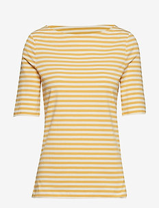 D1. BOATNECK STRIPED TOP - HONEY GOLD