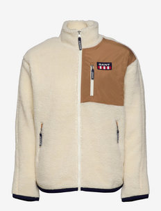 D2. GANT RETRO LOGO FLEECE JACKET - swetry pluszowe - offwhite