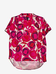 D1. FLUID PRINTED DESERT ROSE TOP - kortärmade blusar - rich pink
