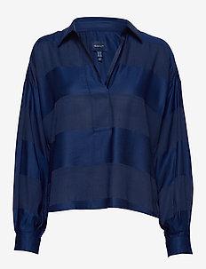 D1. POPOVER RUGGER STRIPE SHIRT - långärmade blusar - deep blue