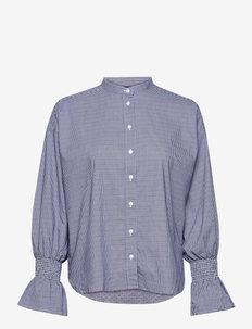 D1. TP SMOCK SLEEVE CHECK SHIRT - pitkähihaiset paidat - crisp blue