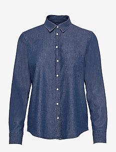 D2. CHAMBRAY CONTRAST SHIRT - langärmlige hemden - indigo