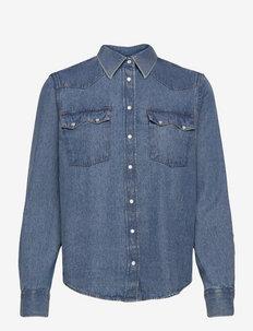 D2. DENIM SAWTOOTH SHIRT - marškiniai ilgomis rankovėmis - mid blue vintage