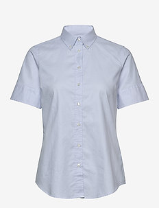 STRETCH OXFORD SOLID SS SHIRT - short-sleeved shirts - light blue