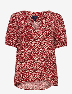 D2. SUMMER FLORAL BLOUSE - short-sleeved blouses - iron red