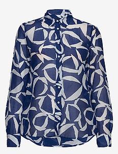 D1. CRESCENT BLOOM CO SILK SHIRT - long-sleeved shirts - crisp blue