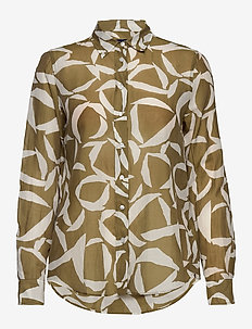 D1. CRESCENT BLOOM CO SILK SHIRT - long-sleeved shirts - olive green