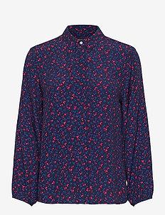 D1. CLOVER GARDEN VISCOSE BLOUSE - long sleeved blouses - evening blue