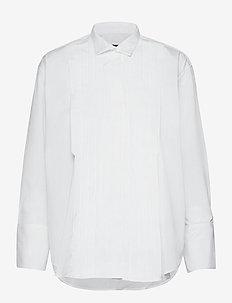 D2. PLEATED TUXEDO SHIRT - långärmade skjortor - white