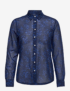 D2. FALL FLOWER COT SLIK SHIRT - långärmade skjortor - persian blue