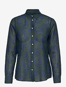 D2. FALL FLOWER COT SLIK SHIRT - chemises à manches longues - thyme green