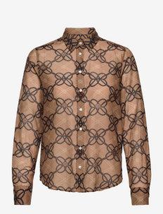D1. REG ROPE PRINT COT SILK SHIRT - long-sleeved shirts - warm khaki