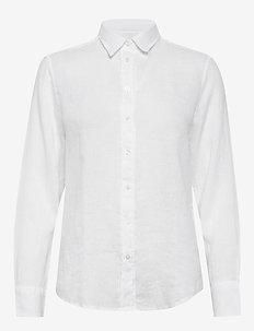 THE LINEN CHAMBRAY SHIRT - overhemden met lange mouwen - white