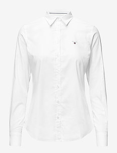 STRETCH OXFORD SOLID - pitkähihaiset paidat - white