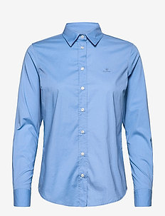 SOLID STRETCH BROADCLOTH SHIRT - pitkähihaiset paidat - mid blue
