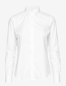 SOLID STRETCH BROADCLOTH SHIRT - long-sleeved shirts - white