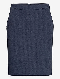 D1. HERRINGBONE JERSEY SKIRT - midinederdele - persian blue