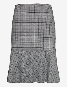 D1. CHECKED FLARE SKIRT - jupes midi - evening blue