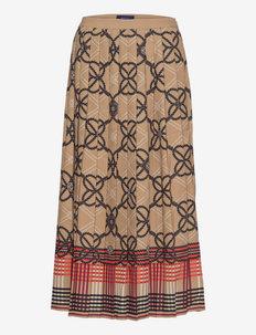 D1. PLEATED ROPE PRINT SKIRT - midihameet - warm khaki