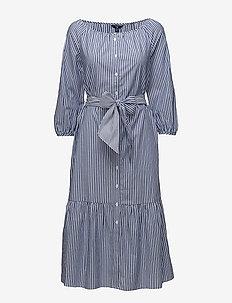 O1. PREPPY STRIPED SHIRT DRESS - shirt dresses - college blue