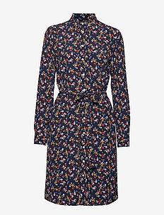 D1. SCRIBBLED FLORAL SHIRT DRESS - EVENING BLUE