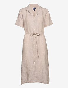D2. LINEN CHAMBRAY SS SHIRT DRESS - shirt dresses - dry sand