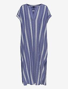 D2. KAFTAN MIDI CRINKLE STRIPE - summer dresses - persian blue
