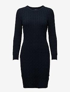 STRETCH COTTON CABLE DRESS - EVENING BLUE