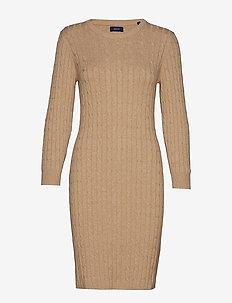 STRETCH COTTON CABLE DRESS - SAND MELANGE