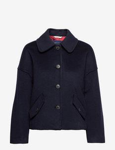 D1. WOOL BLEND CROPPED JACKET - vestes en laine - evening blue
