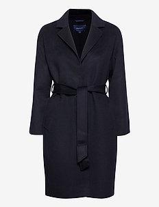 D1. WOOL BLEND BELTED COAT - wool coats - evening blue