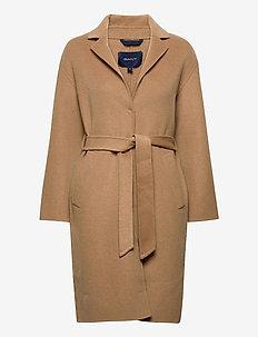 D1. WOOL BLEND BELTED COAT - uldfrakker - warm khaki