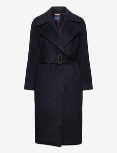 D1. WOOL BLEND BELTED COAT - manteaux en laine - evening blue
