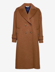D2. WOOL BLEND COCOON OVERCOAT - manteaux en laine - roasted walnut