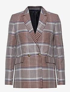 D1. LONGLINE CHECKED BLAZER - blazers - warm khaki