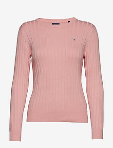 D1. STRETCH COTTON RIB CREW - PREPPY PINK