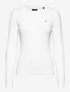 D1. STRETCH COTTON RIB CREW - neulepuserot - white