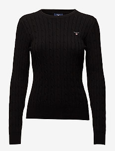 STRETCH COTTON CABLE C-NECK - BLACK