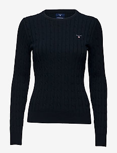 STRETCH COTTON CABLE C-NECK - jumpers - evening blue